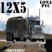 Lona: 12,0 x 5,0m PVC Premium Caminhão Vinil Vinilona Preto Fosco AntiChamas com 21 LonaFlex Gancho 25cm e 21 LonaFlex Gancho 50cm