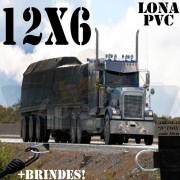 Lona: 12,0 x 6,0m PVC Premium Caminhão Vinil Vinilona Preto Fosco AntiChamas com 22 LonaFlex Gancho 25cm e 22 LonaFlex Gancho 50cm