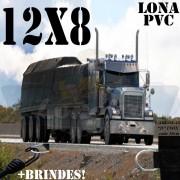 Lona: 12,0 x 8,0m PVC Premium Caminhão Vinil Vinilona Preto Fosco AntiChamas com 25 LonaFlex Gancho 25cm e 25 LonaFlex Gancho 50cm