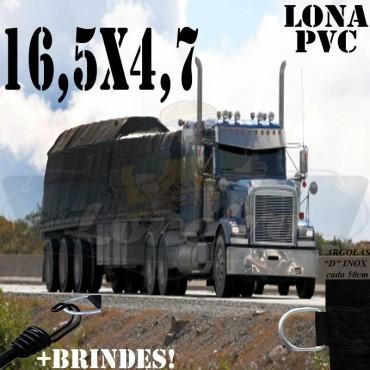 Lona: 16,5 x 4,7m PVC Premium Caminhão Vinil Vinilona Preto Fosco AntiChamas com 26 LonaFlex Gancho 25cm e 26 LonaFlex Gancho 50cm
