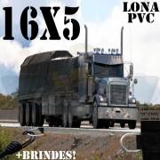 Lona: 16,0 x 5,0m PVC Premium Caminhão Vinil Vinilona Preto Fosco AntiChamas com 26 LonaFlex Gancho 25cm e 26 LonaFlex Gancho 50cm 1 ROW 0,75m