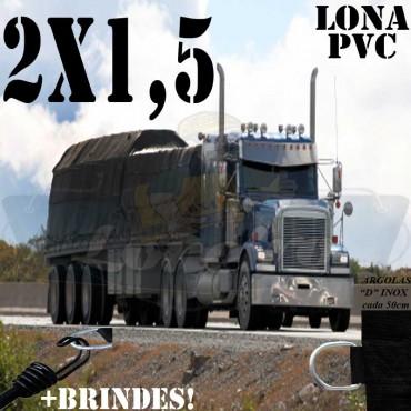 Lona 2,0 x 1,5m PVC Premium Caminhão Vinil Preto Fosco AntiChamas com 4 LonaFlex Gancho 25cm e 4 LonaFlex Gancho 50cm