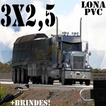 Lona 3,0 x 2,5m PVC Premium Caminhão Vinil Preto Fosco AntiChamas com 7 LonaFlex Gancho 25cm e 7 LonaFlex Gancho 50cm