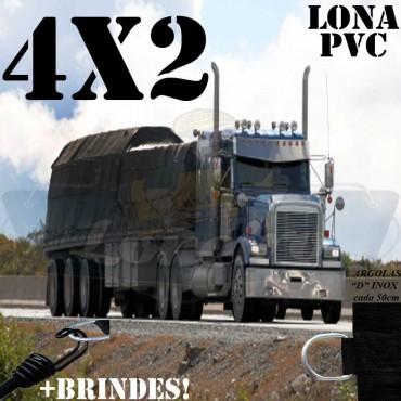 Lona 4,0 x 2,0m PVC Premium Caminhão Vinil Preto Fosco AntiChamas com 8 LonaFlex Gancho 25cm e 8 LonaFlex Gancho 50cm
