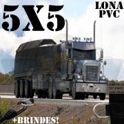 Lona 5,0 x 5,0m PVC Premium Caminhão Vinil Preto Fosco AntiChamas com 12 LonaFlex Gancho 25cm e 12 LonaFlex Gancho 50cm