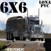 Lona 6,0 x 6,0m PVC Premium Caminhão Vinil Preto Fosco AntiChamas com 16 LonaFlex Gancho 25cm e 16 LonaFlex Gancho 50cm