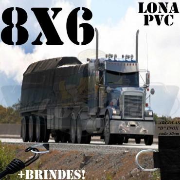 Lona 8,0 x 6,0m PVC Premium Caminhão Vinil Preto Fosco AntiChamas com 18 LonaFlex Gancho 25cm e 18 LonaFlex Gancho 50cm