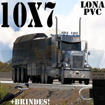 Lona: 10,0 x 7,0m PVC Premium Caminhão Vinil Preto Fosco AntiChamas com 17 LonaFlex Gancho 25cm e 17 LonaFlex Gancho 50cm