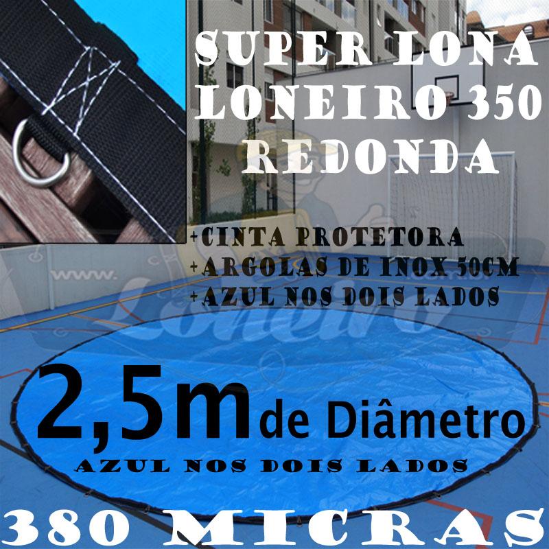 Lona 2 5m de di metro redonda azul azul 380 micras com for Piscina 5 metros diametro