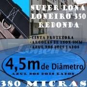 Lona 4,5m de Diâmetro Redonda Azul/Azul 380 Micras com Argolas + 36 Elásticos LonaFlex 30cm + 10m Corda 6mm