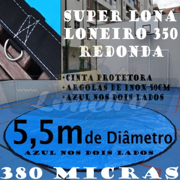Lona 5,5m de Diâmetro Redonda Azul/Azul 380 Micras com Argolas + 45 Elásticos LonaFlex 30cm + 20m de corda 6mm