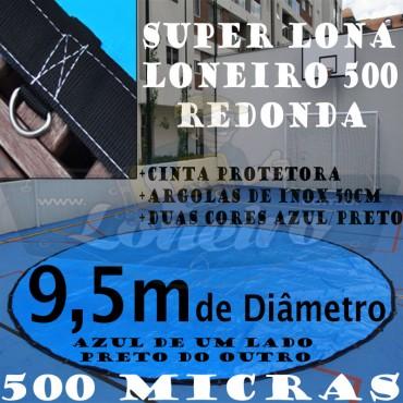 """Lona 9,5m de Diâmetro Redonda PP/PE 500 Micras Azul de um lado e Cinza Chumbo do outro com argolas """"D"""" INOX a cada 50cm"""