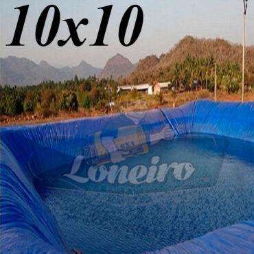 Lona: 10,0 x 10,0m Azul 300 Micras Impermeável Atóxica Lagos Artificiais Tanques de Peixes Reservatórios Água Potável Cisterna Ranário Poços