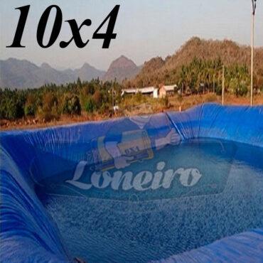 Lona: 10,0 x 4,0m Azul 300 Micras Impermeável Atóxica Lagos Artificiais Tanques de Peixes Reservatórios Água Potável Cisterna Ranário Poços