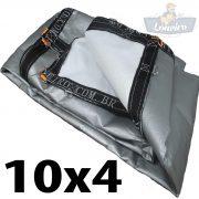 Lona 10x4 pppe 500 micra branca prata acabamento cinza argolas D inox cinta preta reforço reforçada durabilidade alta resistente loneiro