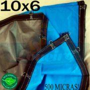 Lona: 10,0 x 6,0m Loneiro 500 Micras PPPE Impermeável Azul e Cinza com argolas
