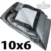 Lona 10x6 pppe 500 micra branca prata acabamento cinza argolas D inox cinta preta reforço reforçada durabilidade alta resistente loneiro