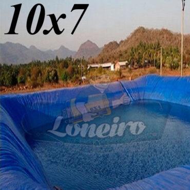 Lona: 10,0 x 7,0m Azul 300 Micras Impermeável Atóxica Lagos Artificiais Tanques de Peixes Reservatórios Água Potável Cisterna Ranário Poços