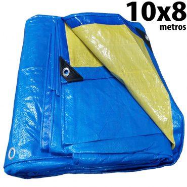 Lona: 10,0 x 8,0m Azul e Amarela 150 Micra + ilhos e cantoneiras para cobertura proteção capa básica de polietileno impermeável com duas cores