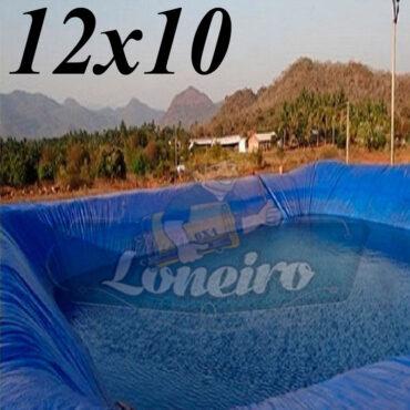 Lona: 12,0 x 10,0m Azul 300 Micras Impermeável Atóxica Lagos Artificiais Tanques de Peixes Reservatórios Água Potável Cisterna Ranário Poços
