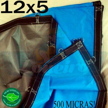 Lona: 12,0 x 5,0m Loneiro 500 Micras PPPE Impermeável Azul e Cinza com argolas