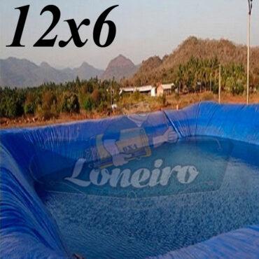 Lona: 12,0 x 6,0m Azul 300 Micras Impermeável Atóxica Lagos Artificiais Tanques de Peixes Reservatórios Água Potável Cisterna Ranário Poços