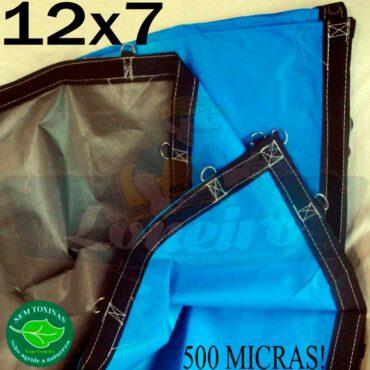 Lona: 12,0 x 7,0m Loneiro 500 Micras PPPE Impermeável Azul e Cinza com argolas