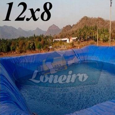 Lona: 12,0 x 8,0m Azul 300 Micras Impermeável Atóxica Lagos Artificiais Tanques de Peixes Reservatórios Água Potável Cisterna Ranário Poços