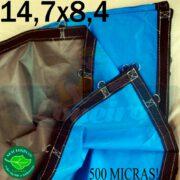 Lona: 14,7 x 8,4m Loneiro 500 Micras PPPE Impermeável Azul e Cinza com argolas