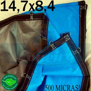 Lona: 14,7 x 8,4m Loneiro 500 Micras PPPE Azul e Cinza com argolas