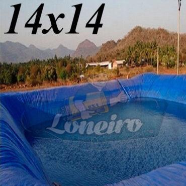 Lona: 14,0 x 14,0m Azul 300 Micras Impermeável Atóxica Lagos Artificiais Tanques de Peixes Reservatórios Água Potável Cisterna Ranário Poços