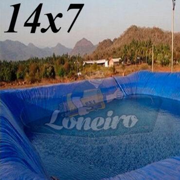 Lona: 14,0 x 7,0m Azul 300 Micras Impermeável Atóxica Lagos Artificiais Tanques de Peixes Reservatórios Água Potável Cisterna Ranário Poços