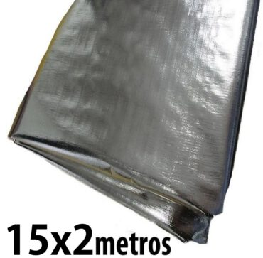 Lona: 15,0 x 2,0m Loneiro 300 Micras Metalizada de um lado e Branca do outro sem acabamento para estufa grow jardim cultivo indoor de plantas