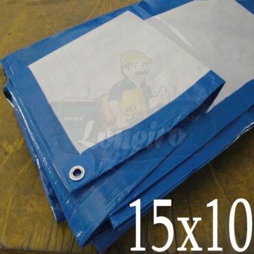 Lona: 15,0 x 10,0m Azul Branco 300 Micras Impermeável Cobertura Proteção Telhado Piso Lagos Tanques Ranários com Ilhoses a cada 1 metro