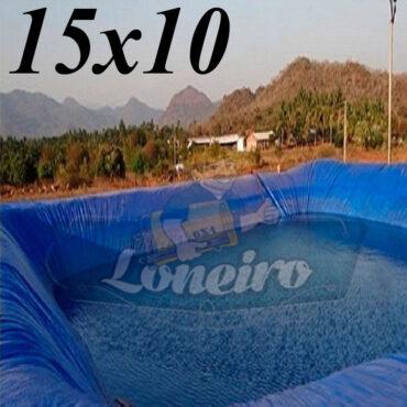 Lona: 15,0 x 10,0m Azul 300 Micras Impermeável Atóxica Lagos Artificiais Tanques de Peixes Reservatórios Água Potável Cisterna Ranário Poços