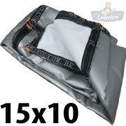Lona 15x10 pppe 500 micra branca prata acabamento cinza argolas D inox cinta preta reforço reforçada durabilidade alta resistente loneiro