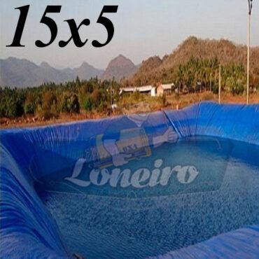 Lona: 15,0 x 5,0m Azul 300 Micras Impermeável Atóxica Lagos Artificiais Tanques de Peixes Reservatórios Água Potável Cisterna Ranário Poços