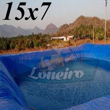 Lona: 15,0 x 7,0m Azul 300 Micras Impermeável Atóxica Lagos Artificiais Tanques de Peixes Reservatórios Água Potável Cisterna Ranário Poços
