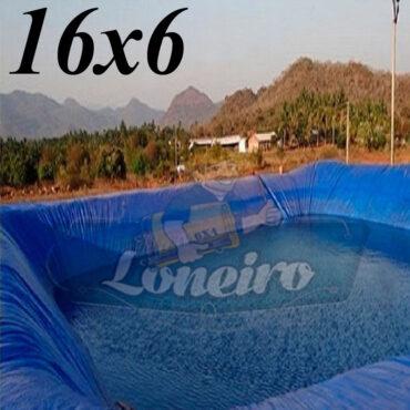 Lona: 16,0 x 6,0m Azul 300 Micras Impermeável Atóxica Lagos Artificiais Tanques de Peixes Reservatórios Água Potável Cisterna Ranário Poços