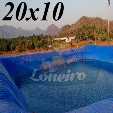 Lona: 20,0 x 10,0m Azul 300 Micras Impermeável Atóxica Lagos Artificiais Tanques de Peixes Reservatórios Água Potável Cisterna Ranário Poços