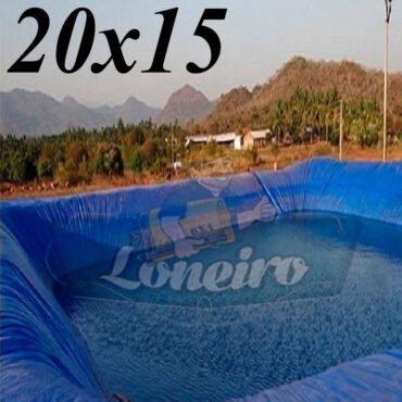 Lona: 20,0 x 15,0m Azul 300 Micras Impermeável Atóxica Lagos Artificiais Tanques de Peixes Reservatórios Água Potável Cisterna Ranário Poços
