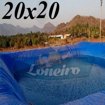 Lona: 20,0 x 20,0m Azul 300 Micras Impermeável Atóxica Lagos Artificiais Tanques de Peixes Reservatórios Água Potável Cisterna Ranário Poços