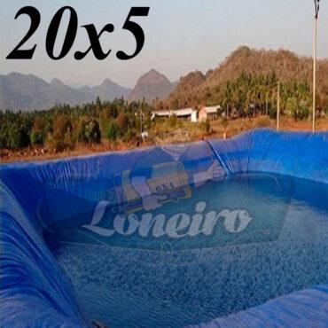 Lona: 20,0 x 5,0m Azul 300 Micras Impermeável Atóxica Lagos Artificiais Tanques de Peixes Reservatórios Água Potável Cisterna Ranário Poços