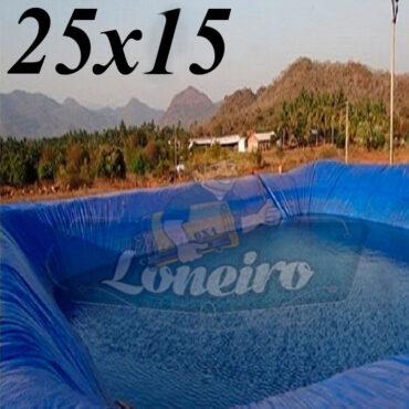 Lona: 25,0 x 15,0m Azul 300 Micras Impermeável Atóxica Lagos Artificiais Tanques de Peixes Reservatórios Água Potável Cisterna Ranário Poços
