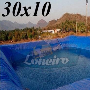 Lona: 30,0 x 10,0m Azul 300 Micras Impermeável Atóxica Lagos Artificiais Tanques de Peixes Reservatórios Água Potável Cisterna Ranário Poços