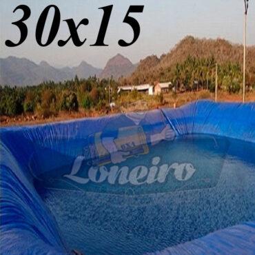 Lona: 30,0 x 15,0m Azul 300 Micras Impermeável Atóxica Lagos Artificiais Tanques de Peixes Reservatórios Água Potável Cisterna Ranário Poços