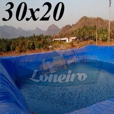 Lona: 30,0 x 20,0m Azul 300 Micras Impermeável Atóxica Lagos Artificiais Tanques de Peixes Reservatórios Água Potável Cisterna Ranário Poços