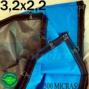 Lona 3,2 x 2,2m Loneiro 500 Micras PPPE Azul e Cinza com argolas
