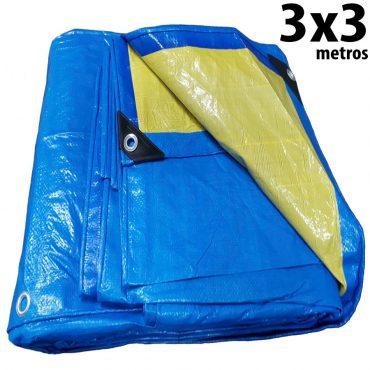 Lona 3,0 x 3,0m Azul e Amarela 150 Micra + ilhos e cantoneiras para cobertura proteção capa básica de polietileno impermeável com duas cores