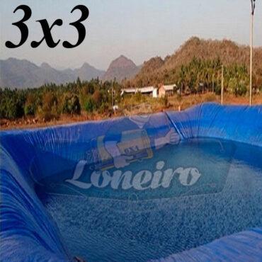 Lona 3,0 x 3,0m Azul 300 Micras para Lagos Artificiais Tanques de Peixes Reservatórios de Água Potável Cisternas Ranários Poços